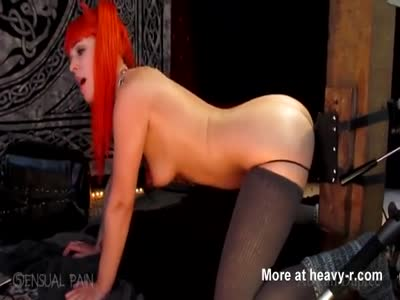 Redhead Taking Horse Dildo In Ass