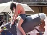 Bull Ride Bikini Fail