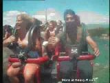 Tits flop out on roller coaster ride