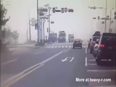 Cement Mixer Truck Flips And Crushes Car