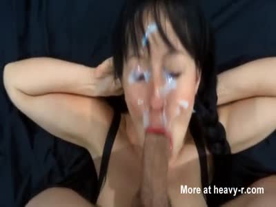 Slut blowjob and drowned in cum facial