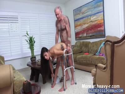 Horny Chick Fuckign Gramps