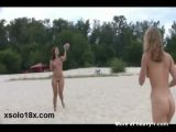 Nude Girls Playing Fisbee