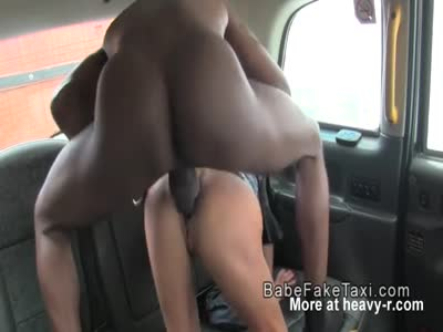Blonde cab driver fucks big black cock in public