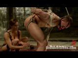 Hogtied and strapon raped