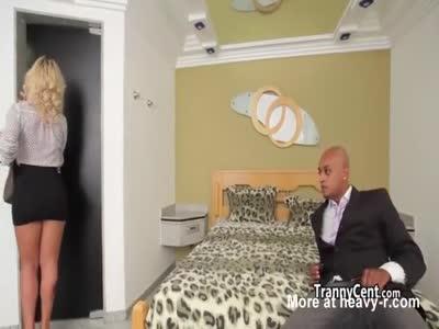 Lingerie tgirl banging black cock