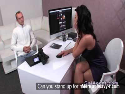 Milf female agent sucks limp cock in casting