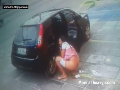 Girl Caught Shitting In Public