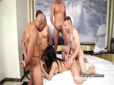 Shemale beauty gangbanged hard