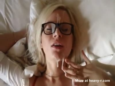 Nerdy Teen Blonde Gets Big Facial