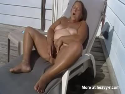 Sloppy Old BBW Toys Cunt Outside