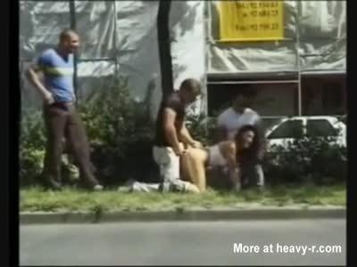 Public Roadside Gangbang