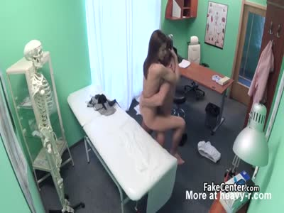 Doctor banging brunette in office
