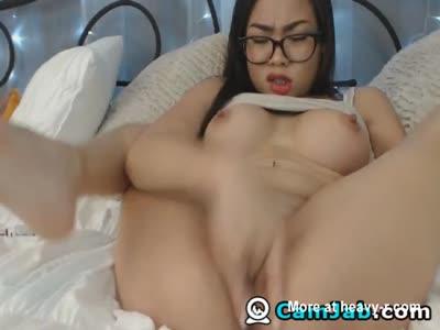Asian Nerd Babe Fingering Pussy