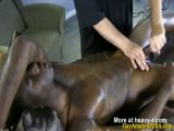 Ebony straight guys cock gets pleased