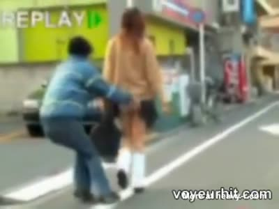 Asian Schoolgirl Sharked On The Streets