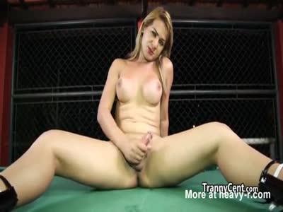 Blond tgirl jerking her tranny cock