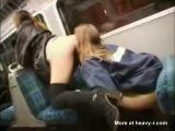Drunk girls eating pussy on public train