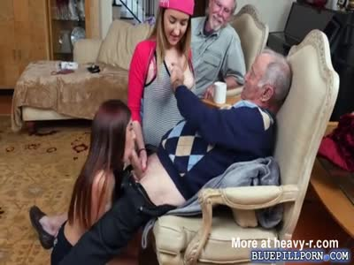 Teen BFF Sally and Gigi shares with an old mans dick