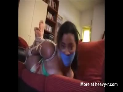 Hogtied And Gagged Ebony Girl