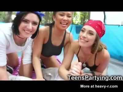 Fucking 4 Teen Besties in the Tent!