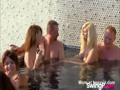 Naughty Swinger Couples Relax In Hot Tub Before Having Orgy