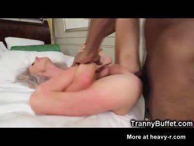 Tranny Gets Self Facial While BBC Fucked