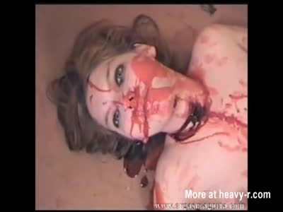 Naked Brunette slaughtered