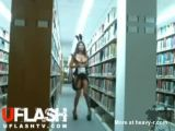 Asian Bunny In Public Library