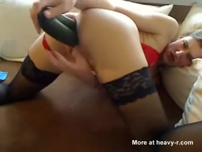 Pierced Milf Toying With Cucumber