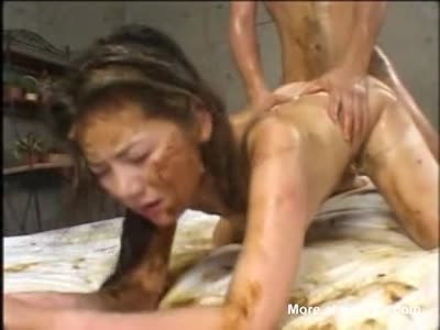 Shit Covered Asian Slave Forced Fucked