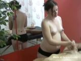 Pregnant Masseuse Jerking Off Client