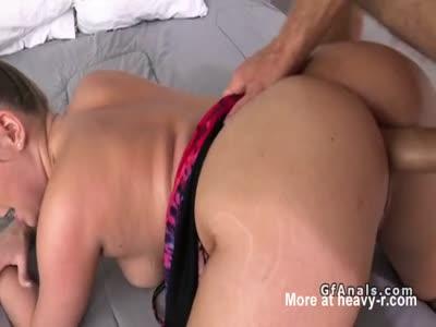 Big booty gf takes anal till ass cumshot