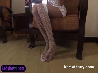 Teenage ladyboy with braces devours a huge white cock