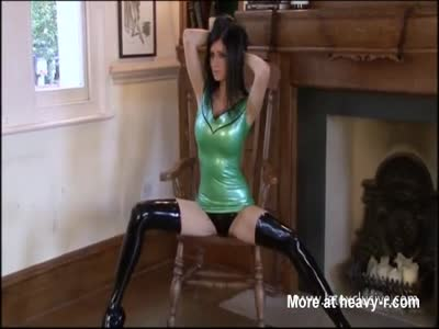 Sexy Teen In Mint Green Latex Outfit