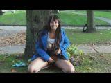 Hot black girl flashing in public