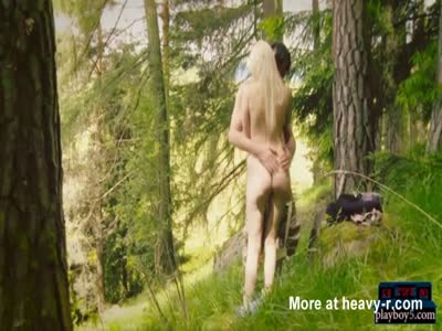 Blonde ex-wife outdoor forest fuck in this funny video