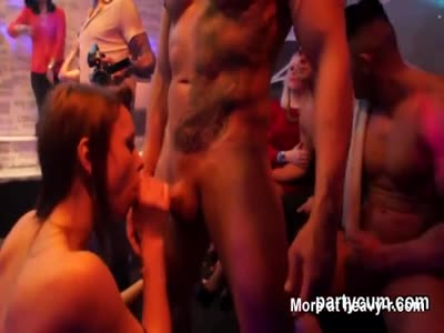 Foxy nymphos get completely wild and nude at hardcore party