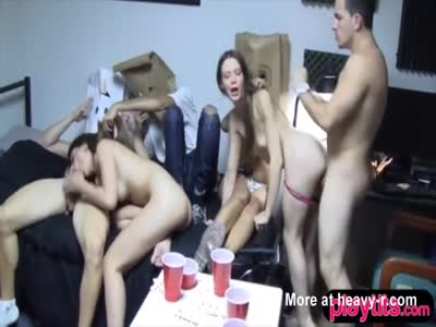 College teen girls bag on the head party ends in groupsex