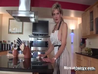 Busty Milf Cleaning Kitchen Naked