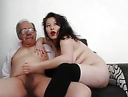 A Young Woman Masturbate An Old Man And He Fi...