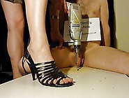 Brutal Cock Crush Footjob With Strappy High H...