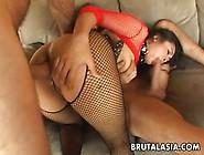 Mega Busty Asian Slut Gets Spitroasted In A T...