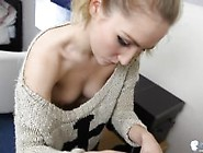 Braless Sexy Blonde Teen Wearing Too Large Sw...