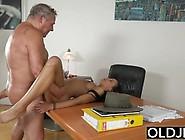 Grandpa Having Sex With Teen Brunette At Job