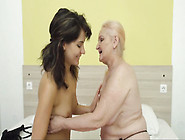 Mature Granny Bitch And Young Brunette Kissin...