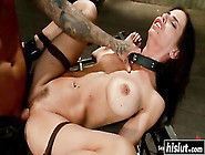 Degrated Girl In A Slave Collar And Bondage G...