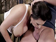 A Pale Babe With Large Tits Is In The Warehou...