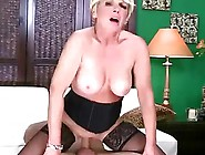 Stocking Wore Blonde Granny In Doggy Style In...