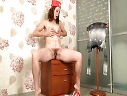 Hairy Nurse Strips And Fingers Her Asshole